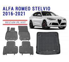 Rezaw-Plast Floor Mats Trunk Liner Set for Alfa Romeo Stelvio 2016-2021 Black