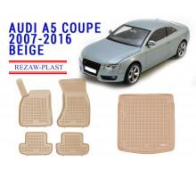 Rezaw-Plast  Floor Mats Trunk Liner Set for Audi A5 Coupe 2007-2016 Beige