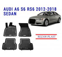 Rezaw-Plast  Rubber Floor Mats Set for Audi A6 S6 RS6 2012-2018 Sedan Black