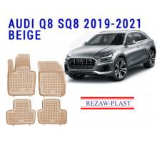 Rezaw-Plast  Rubber Floor Mats Set for  Audi Q8 SQ8 2019-2021 Beige