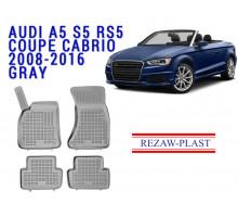 Rezaw-Plast  Rubber Floor Mats Set for Audi A5 S5 RS5  Coupe Cabrio  2008-2016  Gray