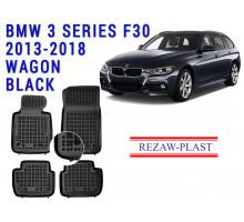 Rezaw-Plast  Rubber Floor Mats Set for BMW 3 Series F30 2013-2018 Wagon Black