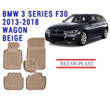 Rezaw-Plast  Rubber Floor Mats Set for BMW 3 Series F30 2013-2018 Wagon Beige