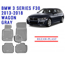 Rezaw-Plast  Rubber Floor Mats Set for BMW 3 Series F30 2013-2018 Wagon Gray