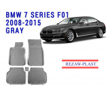 Rezaw-Plast  Rubber Floor Mats Set for BMW 7 Series F01 2008-2015 Gray