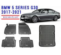 Rezaw-Plast Floor Mats Trunk Liner Set for BMW 5 Series G30 2017-2021 Black