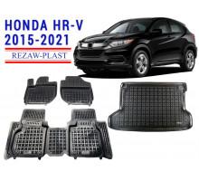 Rezaw-Plast Floor Mats Trunk Liner Set for Honda HR-V 2015-2021 Black