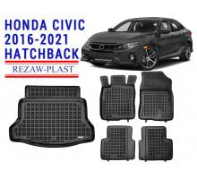 Rezaw-Plast Floor Mats Trunk Liner Set for Honda Civic 2016-2021 Hatchback Black