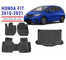 Rezaw-Plast Floor Mats Trunk Liner Set for Honda Fit 2015-2021 Black