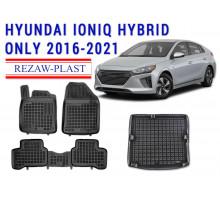 Rezaw-Plast Floor Mats Trunk Liner Set for Hyundai Ioniq Hybrid Only 2016-2020 Black