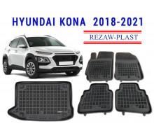 Rezaw-Plast Floor Mats Trunk Liner Set for Hyundai Kona 2018-2020 Black