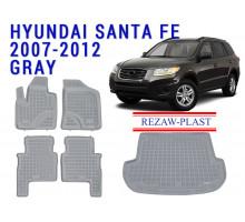 Rezaw-Plast Floor Mats Trunk Liner Set for Hyundai Santa Fe 2007-2012 Gray