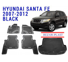 Rezaw-Plast Floor Mats Trunk Liner Set for Hyundai Santa Fe 2007-2012 Black