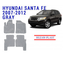 Rezaw-Plast  Rubber Floor Mats Set for Hyundai Santa Fe 2007-2012 Gray