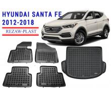 Rezaw-Plast Floor Mats Trunk Liner Set for Hyundai Santa Fe 2012-2018 Black