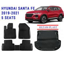 Rezaw-Plast Floor Mats Trunk Liner Set for Hyundai Santa Fe 2019-2020 5 Seats Black