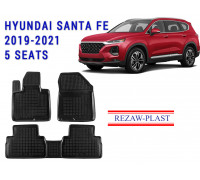 Rezaw-Plast Rubber Floor Mats Set for Hyundai Santa Fe 2019-2021 5 Seats Black