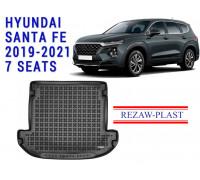 Rezaw-Plast Rubber Trunk Mat for Hyundai Santa Fe 2019-2021 7 Seats Black