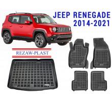 Rezaw-Plast Floor Mats Trunk Liner Set for Jeep Renegade 2014-2021 Black