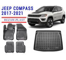 Rezaw-Plast Floor Mats Trunk Liner Set for Jeep Compass 2017-2021 Black