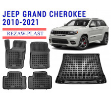 Rezaw-Plast Floor Mats Trunk Liner Set for Jeep Grand Cherokee 2010-2021 Black