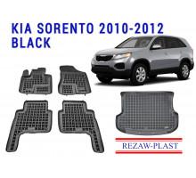 Rezaw-Plast Floor Mats Trunk Liner Set for Kia Sorento 2010-2012 Black