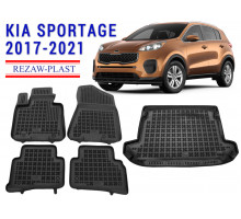 Rezaw-Plast Floor Mats Trunk Liner Set for Kia Sportage 2017-2021 Black