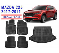 Rezaw-Plast Floor Mats Trunk Liner Set for Mazda CX5 2017-2021 Black