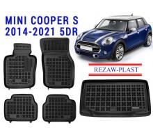 Rezaw-Plast Floor Mats Trunk Liner Set for Mini Cooper S 2014-2021 5DR Black