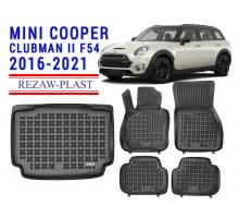Rezaw-Plast Floor Mats Trunk Liner Set for Mini Cooper Clubman II F54 2016-2021 Black