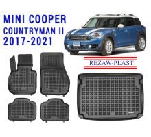 Rezaw-Plast Floor Mats Trunk Liner Set for Mini Cooper Countryman II 2017-2021 Black