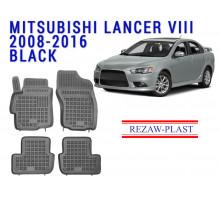 Rezaw-Plast  Rubber Floor Mats Set for Mitsubishi Lancer VIII 2008-2016 Black