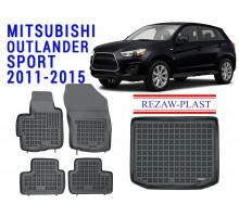 Rezaw-Plast Floor Mats Trunk Liner Set for Mitsubishi Outlander Sport 2011-2015 Black