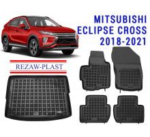 Rezaw-Plast Floor Mats Trunk Liner Set for Mitsubishi Eclipse Cross 2018-2021 Black