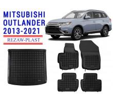 Rezaw-Plast Floor Mats Trunk Liner Set for Mitsubishi Outlander 2013-2021 Black