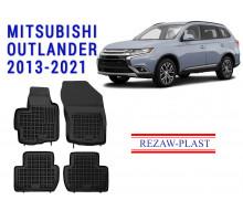Rezaw-Plast  Rubber Floor Mats Set for Mitsubishi Outlander 2013-2021 Black