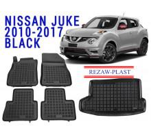 Rezaw-Plast  Floor Mats Trunk Liner Set for Nissan Juke 2010-2017 Black