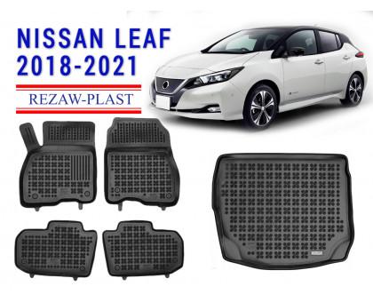 Rezaw-Plast Floor Mats Trunk Liner Set for Nissan Leaf 2018-2021 Black