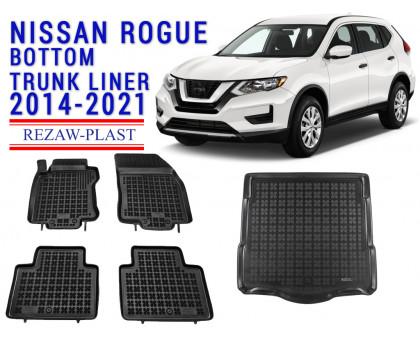 Rezaw-Plast Floor Mats Trunk Liner Set for Nissan Rogue Bottom Trunk Liner 2014-2021 Black