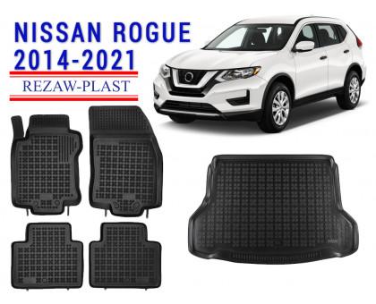 Rezaw-Plast Floor Mats Trunk Liner Set for Nissan Rogue 2014-2021 Black