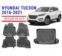 Rezaw-Plast Floor Mats Trunk Liner Set for Hyundai Tucson 2016-2021 Black