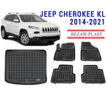 Rezaw-Plast Floor Mats Trunk Liner Set for Jeep Cherokee KL 2014-2021 Black