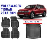 Rezaw-Plast Floor Mats Trunk Liner Set for Volkswagen Tiguan 2018-2021 Black