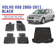 Rezaw-Plast  Floor Mats Trunk Liner Set for Volvo V50 2005-2011 Wagon Black