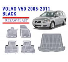 Rezaw-Plast  Floor Mats Trunk Liner Set for Volvo V50 2005-2011 Wagon Gray