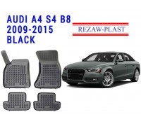 Rezaw-Plast Rubber Floor Mats Set for Audi A4 S4 B8 2009-2015 Black