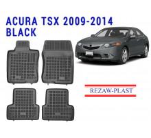 Rezaw-Plast  Rubber Floor Mats Set for Acura TSX 2009-2014 Sedan Black