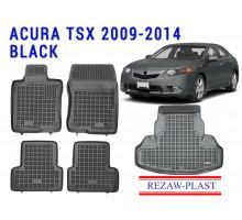 Rezaw-Plast All Weather Floor Mats Trunk Liner Set For ACURA TSX 2009-2014 Sedan Black