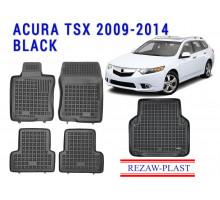 Rezaw-Plast All Weather Floor Mats Trunk Liner Set For ACURA TSX 2009-2014 Black