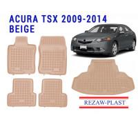 Rezaw-Plast Floor Mats Trunk Liner Set for Acura TSX 2009-2014 Beige